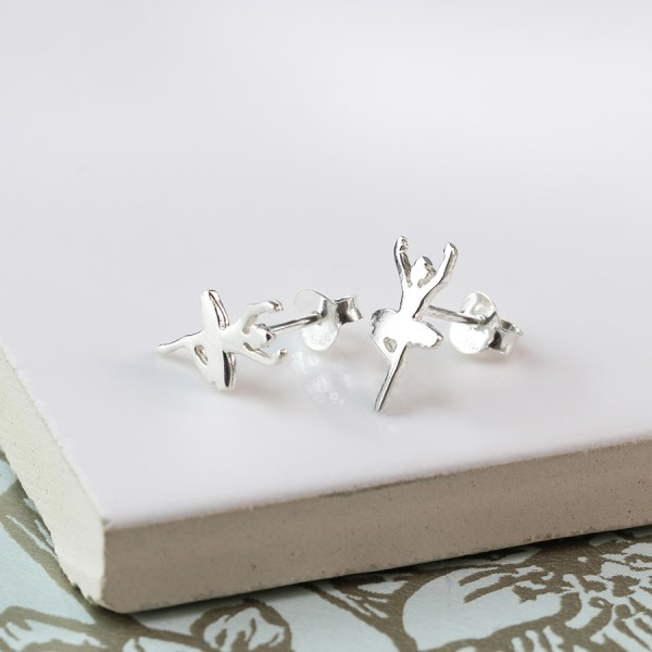 Sterling silver dancing ballerina stud earrings | Image 1