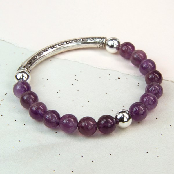 Semi-precious Amethyst and silver plated bead bracelet | Image 1