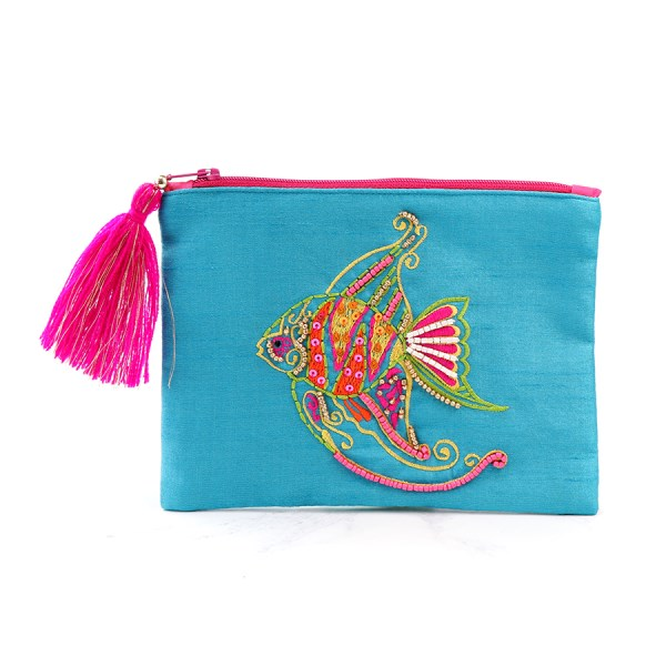 Aqua purse with embellished angel fish and tassel zip | Image 1