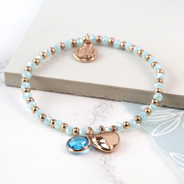 Aqua bead and rose gold heart charm bracelet with crystal | Image 1