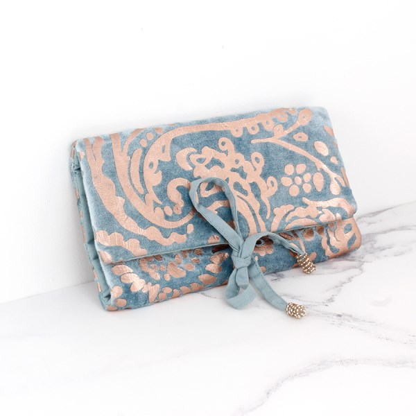 Aqua velvet and rose gold paisley jewellery wrap | Image 1