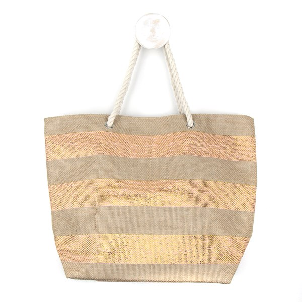 Striped jute beach bag with pink and gold stripes | Image 1