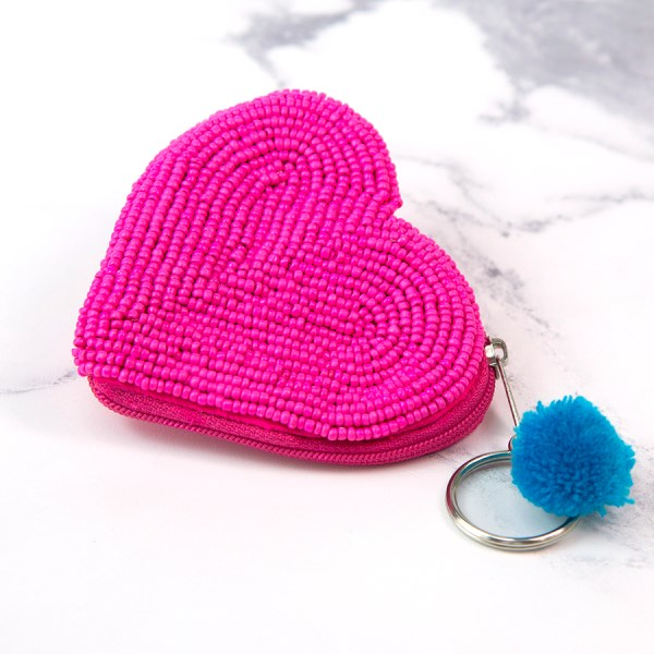 Bright pink beaded heart keyring-purse with pom-pom | Image 1