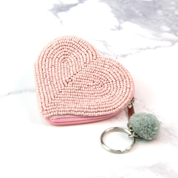 Pale pink beaded heart and pom-pom keyring-purse | Image 1