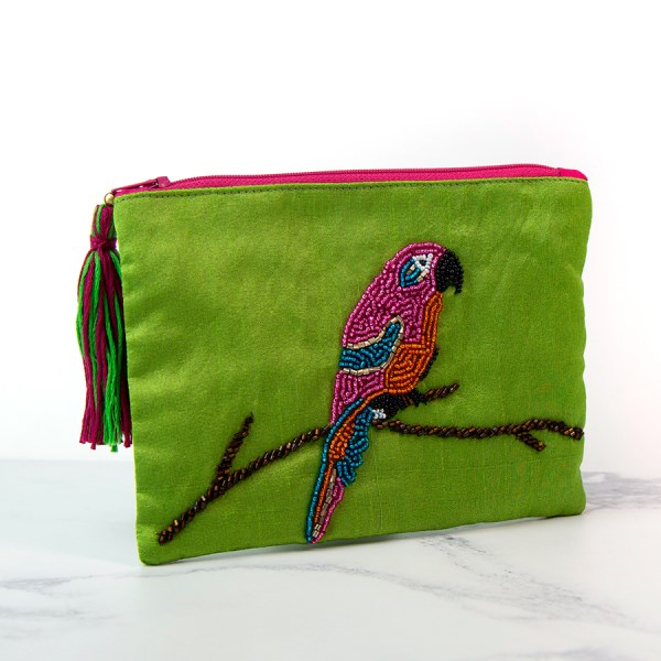 Green embellished purse with beaded parrot | Image 1