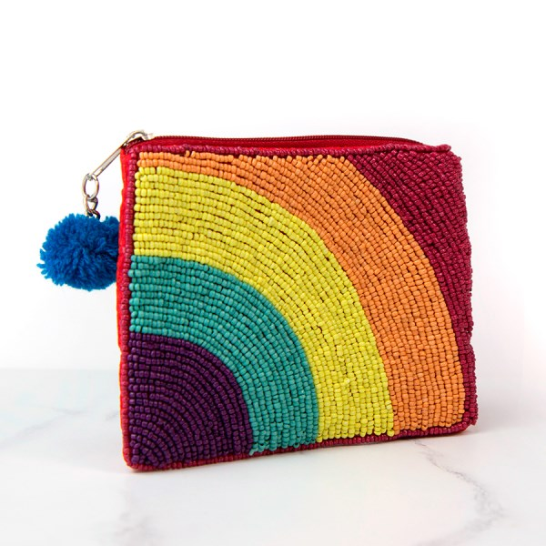 Red embellished purse with bright beaded rainbow | Image 1