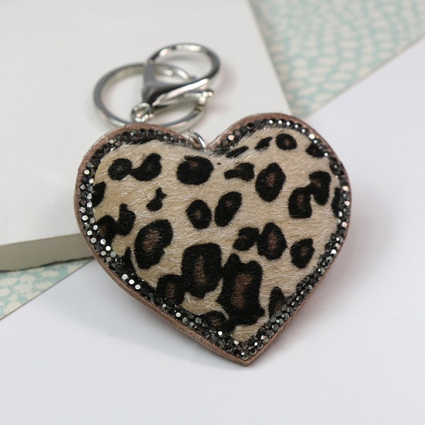 Animal print and crystal heart shaped keyring in beige | Image 1