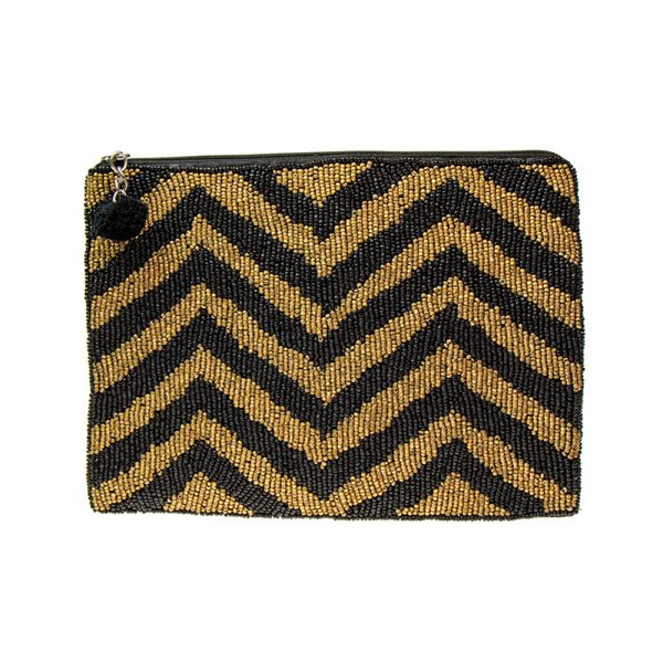 Black and gold beaded zig-zag evening purse | Image 1