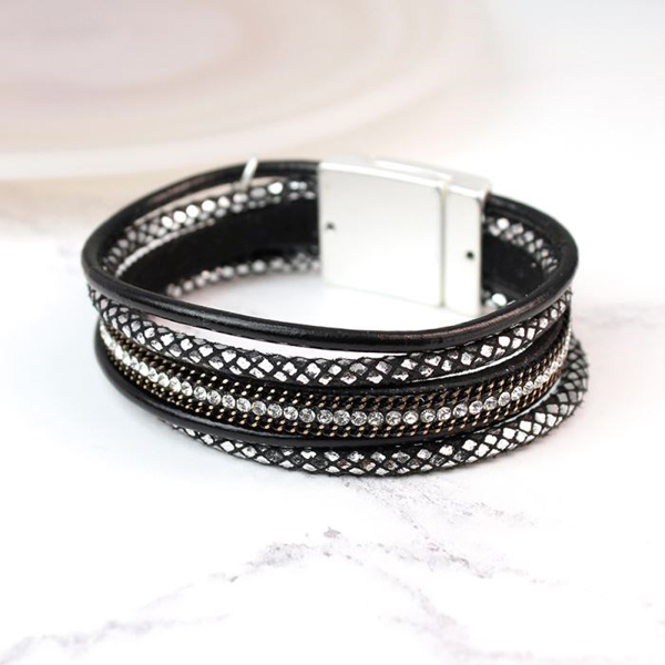 Black leather layered crystal and chain detail bracelet | Image 1