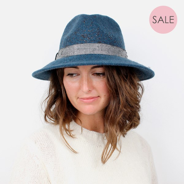 Teal blue and metallic fedora hat with sparkle band | Image 1
