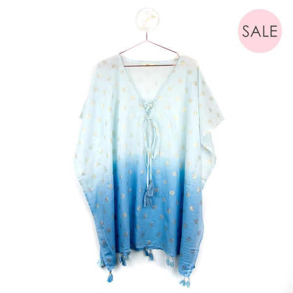 Blue ombre cotton kaftan with metallic gold spots | Image 1