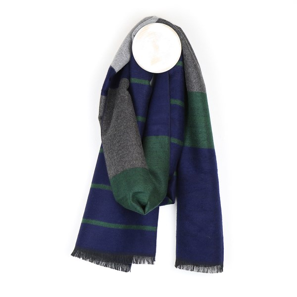 Men's grey, green and blue striped scarf | Image 1