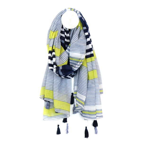 Cotton scarf with navy, lime green and denim blue stripes | Image 1