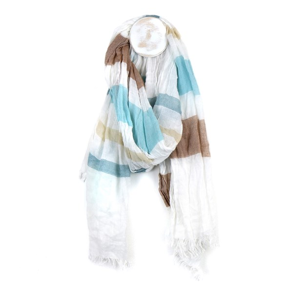Fine white scarf with blue and taupe stripe print | Image 1
