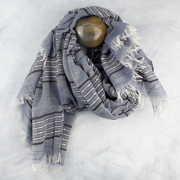 Denim blue scarf with black and white stripes | Image 1