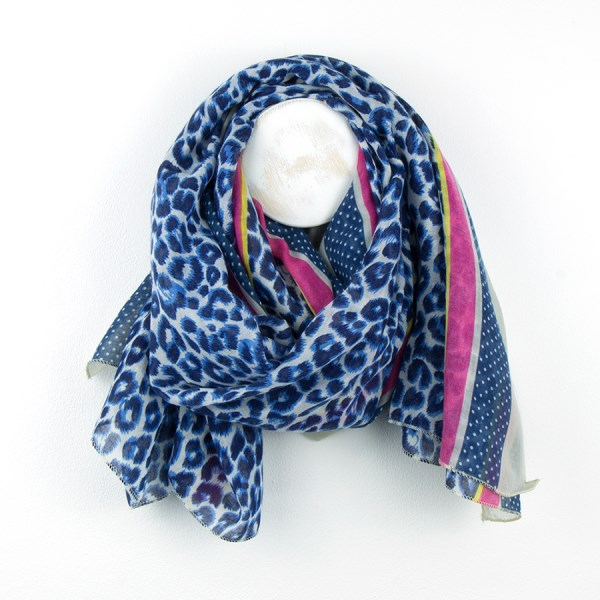 Blue mix animal print scarf with pink and yellow stripe | Image 1