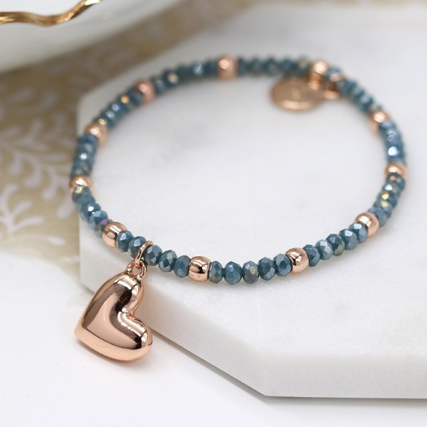 Rose gold and blue bead bracelet with rose gold heart | Image 1
