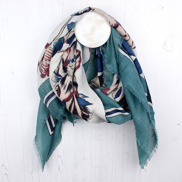 Viridian border scarf with large floral print and latin script | Image 1