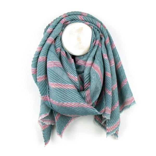 Teal blue mix striped scarf with chevron pleated texture | Image 1