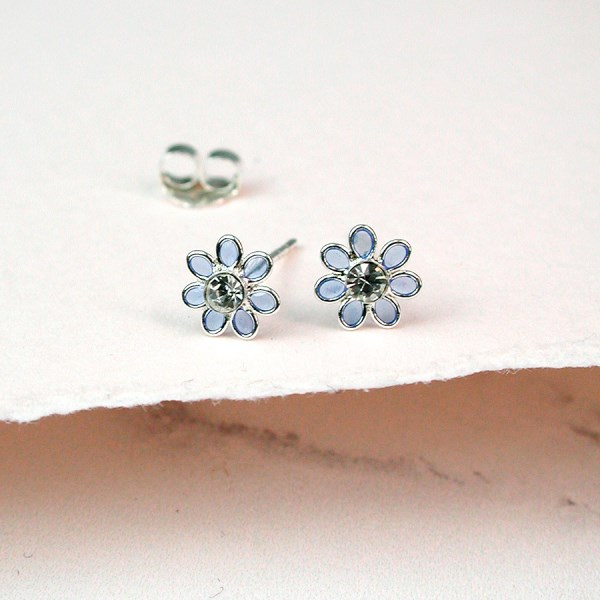 Sterling silver and blue enamel daisy crystal earrings | Image 1