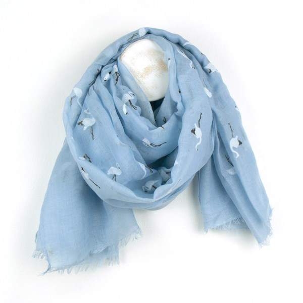 Pale blue scarf with pretty white flock flamingo print | Image 1