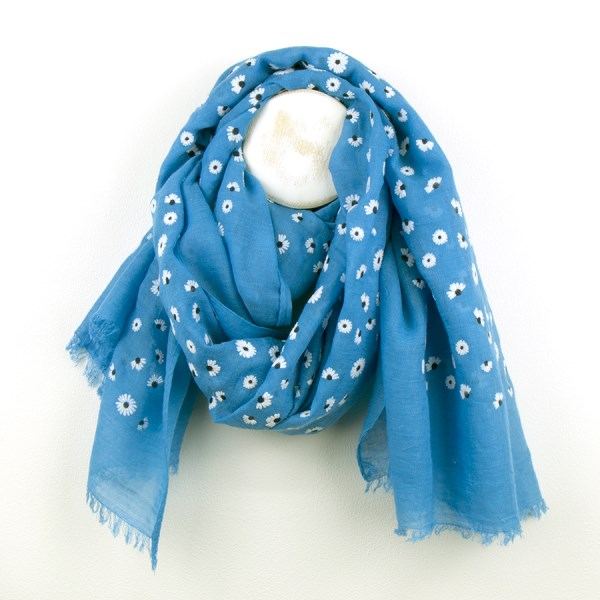 Bright blue scarf with dainty white flock daisy print | Image 1