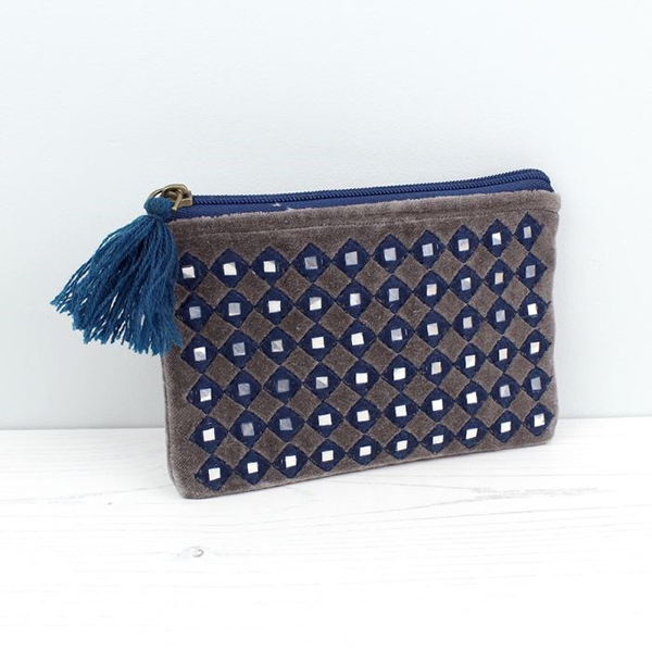 Grey and blue mirrored velvet purse with tassel zip | Image 1