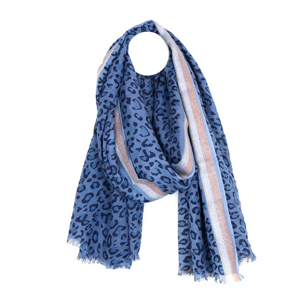 Blue animal print scarf with stripes in wool mix | Image 1