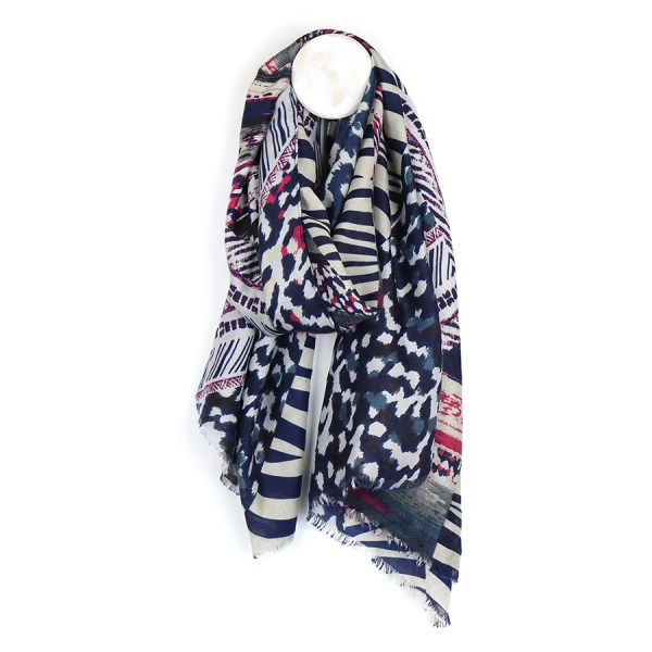 Blue mix scarf with multiple animal prints | Image 1