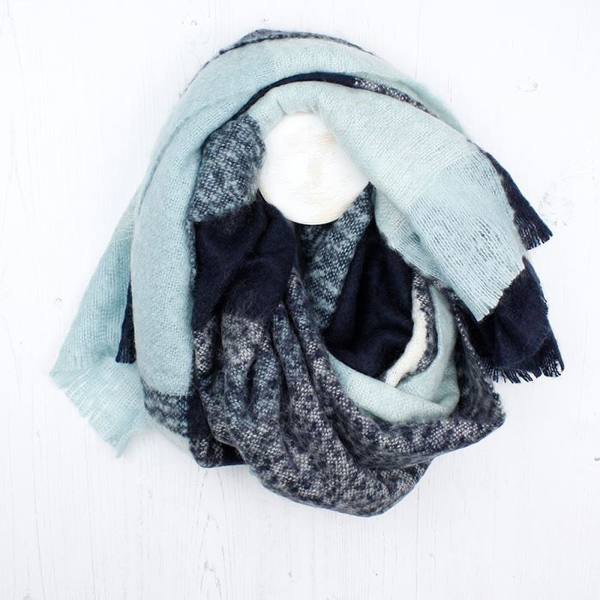 Pale aqua and navy blue soft knit block scarf | Image 1