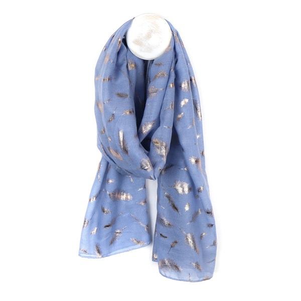 Blue scarf with metallic rose gold feather print | Image 1