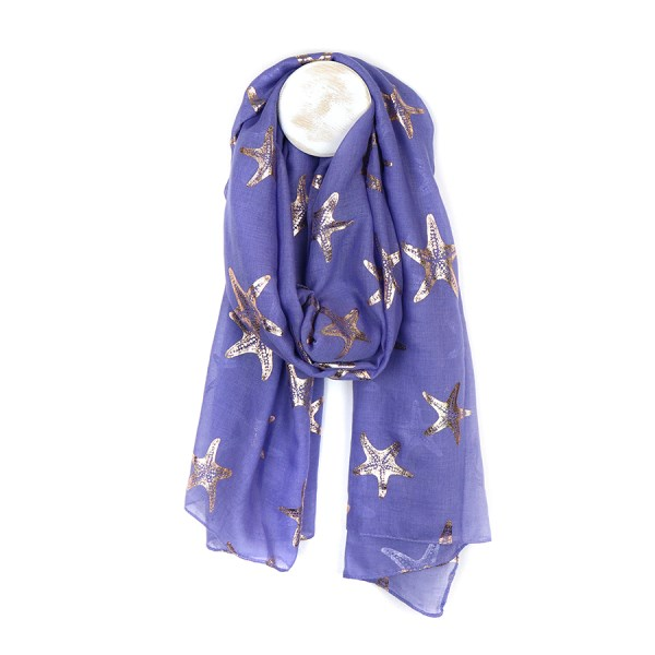 Blue scarf with metallic rose gold starfish print | Image 1