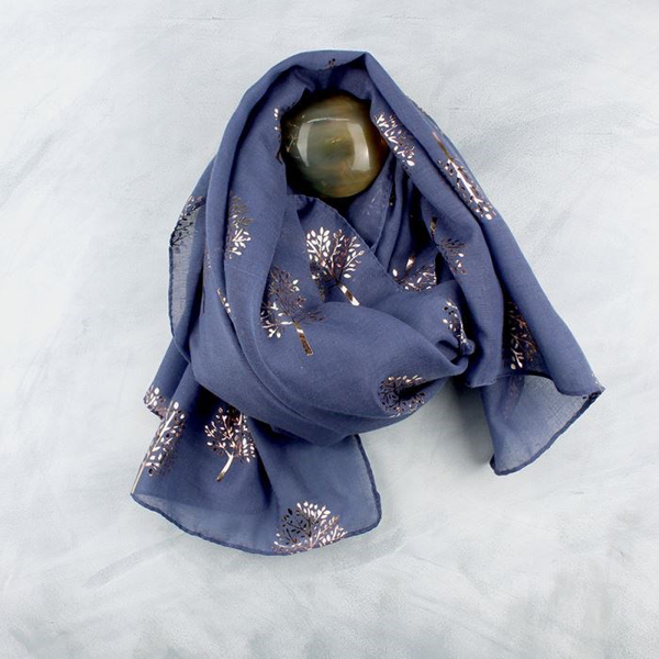Demin blue scarf with metallic rose gold tree print | Image 1
