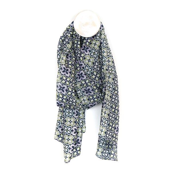 Silk scarf with blue mix repeat floral tile print | Image 1