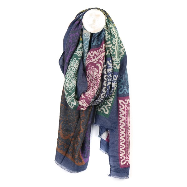 Blue and multi mix baroque tile print scarf | Image 1