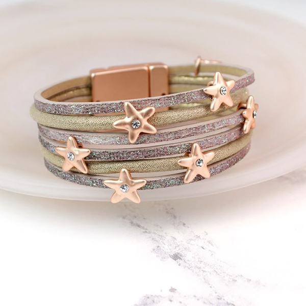 Leather bracelet with shimmer finish and crystal stars | Image 1