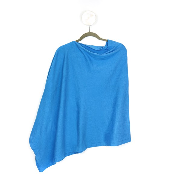Fine knit cotton poncho in azure blue | Image 1