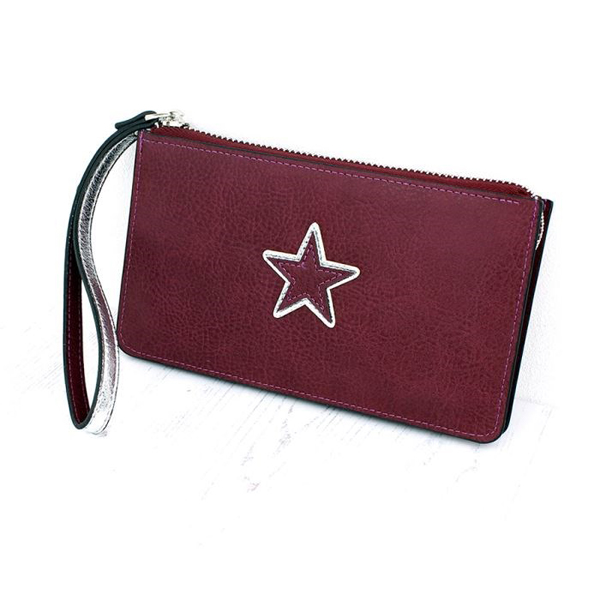 Burgundy and silver faux leather purse with star | Image 1