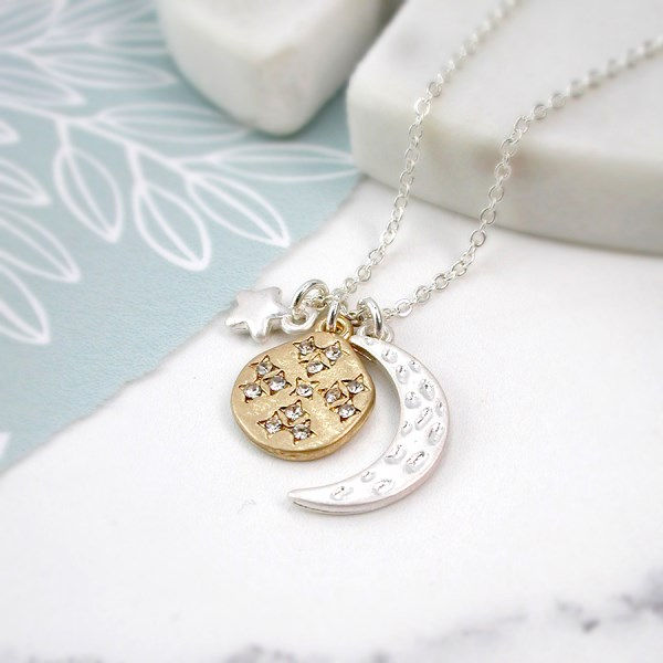 Silver plated moon, star and golden crystal planet necklace | Image 1