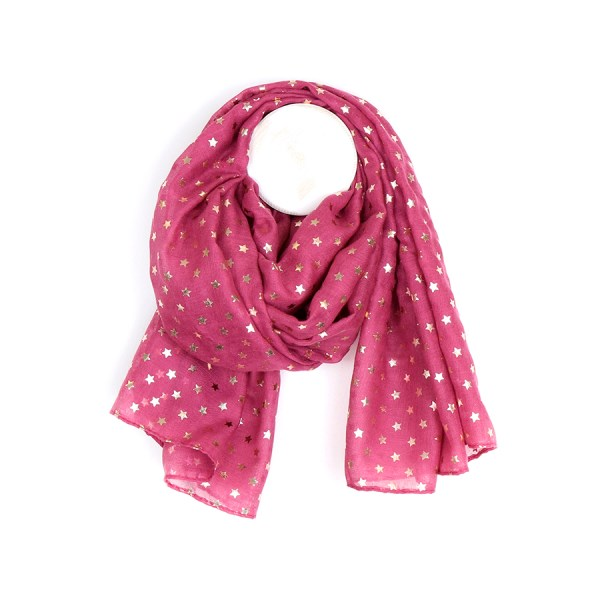 Cerise scarf with metallic rose gold star print | Image 1