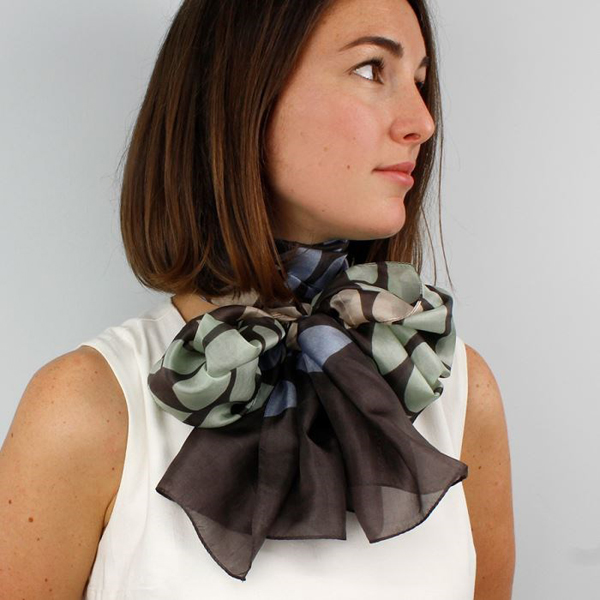 Hand printed silk scarf in chocolate and mint green | Image 1