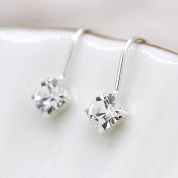 Sterling silver fine drop earrings with little clear crystals | Image 1