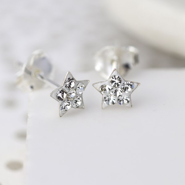 Sterling silver and clear crystal star earrings | Image 1