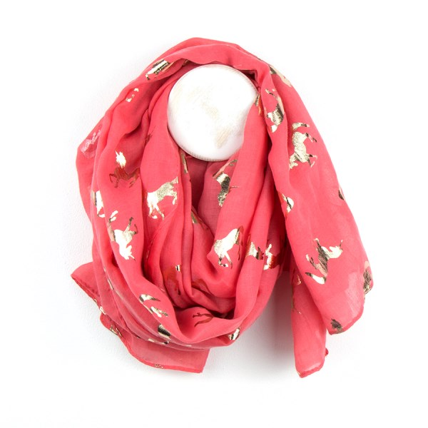 Coral scarf with metallic rose gold dancing unicorn print | Image 1