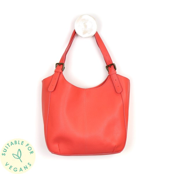 Vegan Leather shoulder bag in rich coral | Image 1