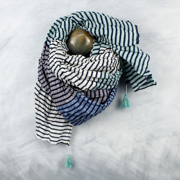 White, blue and aqua cotton stripe scarf with tassels | Image 1