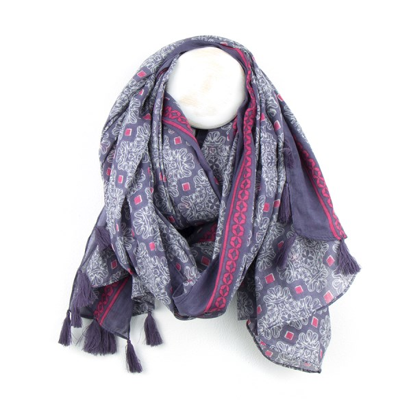 Cotton scarf with dusky mauve print and tassels | Image 1