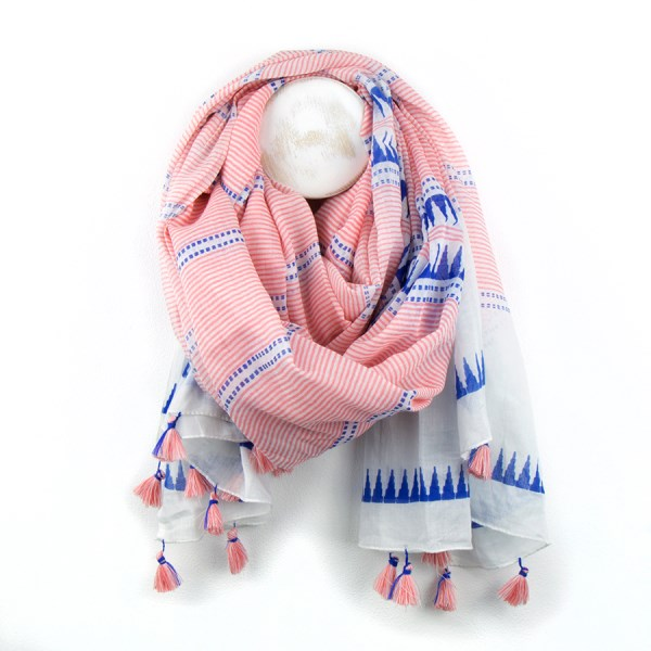 Pink stripe cotton scarf with blue triangles and pink tassels | Image 1