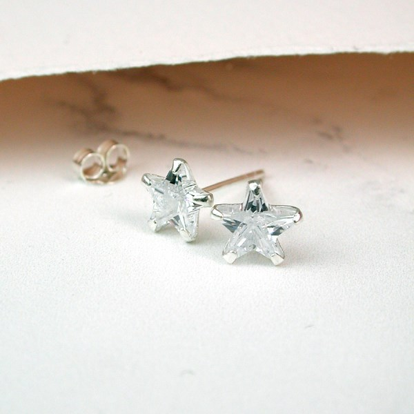 Sterling silver crystal star stud earrings | Image 1