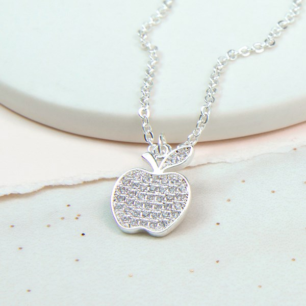 Silver plated apple necklace with crystal filled centre | Image 1